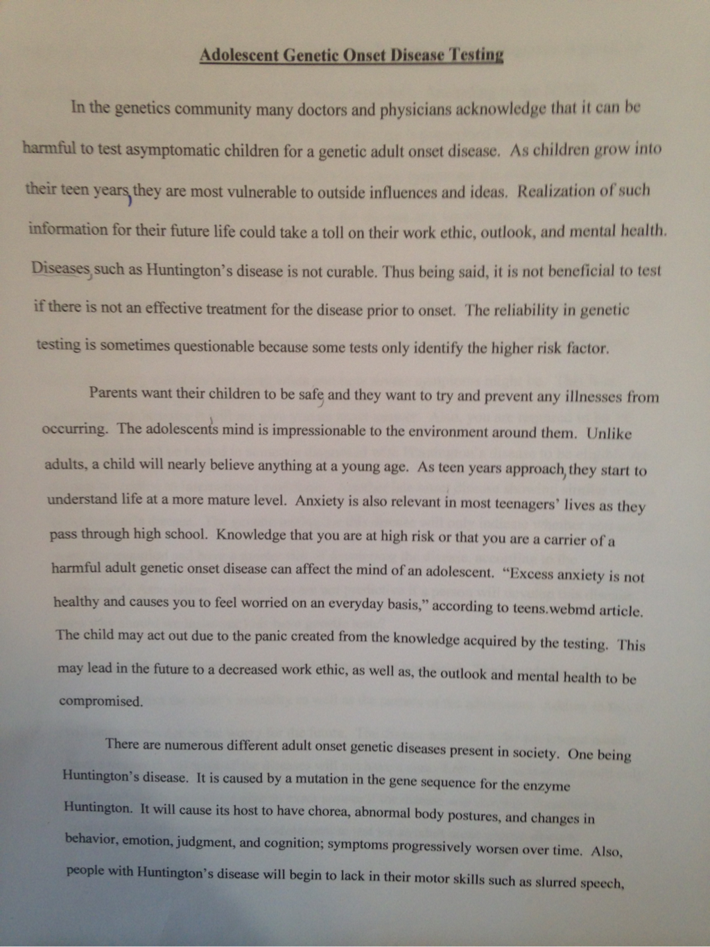 blog i created an essay for my honors biology class it was an essay that was supporting my ideas about genetic adult onset testing for adolescents